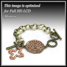 "Antique Gold Double Layer Cross Bracelet. Pearl and Gold Chain with Coin and Cross Charms. Size 8"" L (Toggle Clasp) Pendant Size 1.1"" L X 1"" W. BS001 http://www.amazon.com/dp/B00K88IZ2E/ref=cm_sw_r_pi_dp_SVntwb1AWNTBZ"