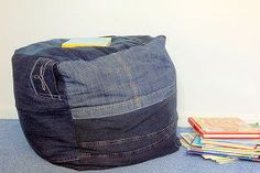 create a denim foot puff, painted furniture, repurposing upcycling