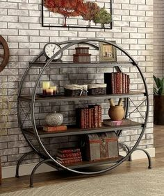 Deshca Metal & Wood Round Bookshelf
