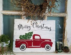 Vintage Red Pickup Truck with Christmas Tree Rustic Reclaimed Wood Sign / Farmhouse Sign / Holiday Decor / Shabby Chic Decor