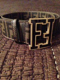 Fendi Belt (Men's Pre-owned Double F Logo Buckle Brown & Black Leather Belt)