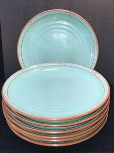Noritake Boulder Ridge Dinner Plate Set Of 7 Southwest Turquoise Stoneware  8674 #Noritake Dinner Plate