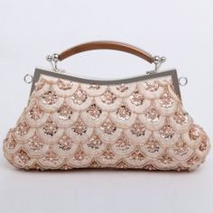Champagne colored evening handbag blush pink soft silver beading fish scales scalloped