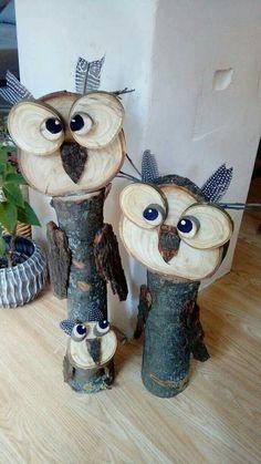 Herbst Deko - All For Garden Wood Log Crafts, Wood Slice Crafts, Christmas Wood Crafts, Owl Crafts, Diy And Crafts, Wood Projects, Craft Projects, Wooden Owl, Wood Creations