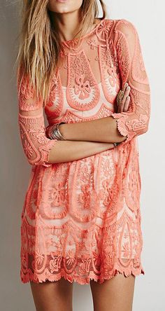 Jen's Pirate Booty for Free People Teardrop Pixie Dress at Free People Clothing Boutique - would love for a bridesmaid dress (in different colors) Coral Lace Dresses, Pretty Dresses, Bridesmaid Dresses, Dresses With Sleeves, Boho Bridesmaids, Prom Dresses, Wedding Dresses, Pixie, Dress Outfits