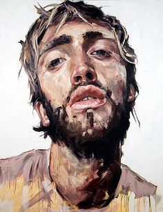 Nick Lepard {contemporary figurative #expressionist male head abstraction man face portrait grunge painting drips} nicklepard.com