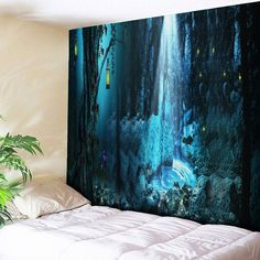 Wall Hanging Magic Forest Bedroom Tapestry - Blue W79 Inch * L59 Inch Mobile