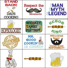 """""""Sayings for Men"""" With 15 designs! Perfect for the fellas in your life, this set includes 9 designs for 5x7 hoops and 6 designs for 4x4 hoops!"""