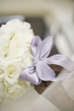 love the oversize satin bow on this bouquet   Harwell Photography #wedding