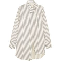 Adeam Asymmetric striped twill shirt (15 090 UAH) ❤ liked on Polyvore featuring white