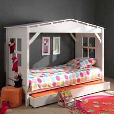 Lit cabane en pin massif en 90 x 200 cm avec 1 tiroir de lit PINO port offert
