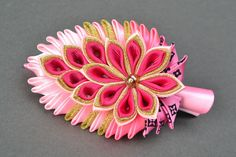 Kanzashi rep ribbon hair clip by YourHairStyle on Etsy