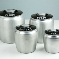 Vintage Kromex Canisters / Flour Sugar Coffee Tea / Art Deco / Kitchen Canister Set / Retro Kitchen / 1950s Kitchen Decor / Cannister