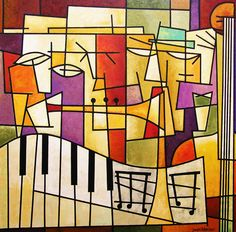 "Chicago Contemporary Art :: ""Four Musicians, 2012"" Original Cubist Music Art Painting Print"