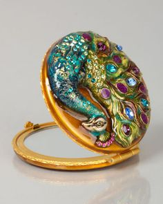 jeweled compact in peacock