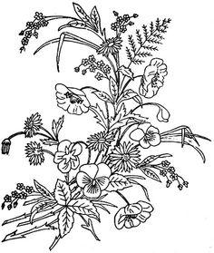 1886 Ingalls Wild Roses, Pansies Floral Spray