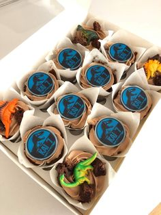 Tasty little no fuss hand out treats, ideal for kids parties. Jurassic Park fans will love these, with edible image toppers including a personalised logo.  To order these fresh out of Shoreham-by-Sea and in the Brighton area, follow the weblink attached.. Little Cakes, How To Look Pretty, Brighton, Catering, Cake Decorating, Cupcakes, Tasty, Treats, Jurassic Park