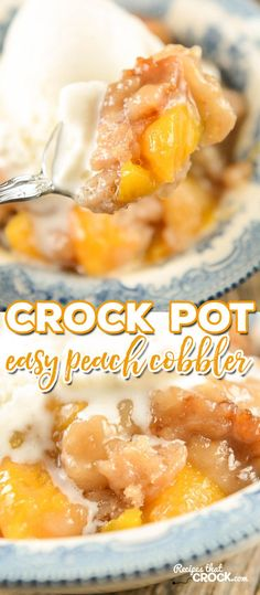 Easy Crock Pot Peach Cobbler Are you looking for an easy fool-proof crock pot dessert? Our Easy Crock Pot Peach Cobbler is simple to make and absolutely delicious to eat. You will be shocked at how easy it is to throw together! Slow Cooker Desserts, Crockpot Deserts, Crockpot Dishes, Crock Pot Slow Cooker, Cooker Recipes, Crockpot Meals Easy, Crockpot Dessert Recipes, Milk Recipes, Fruit Recipes