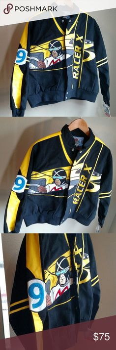 """Speed Racer Jacket Youth 2XL Mens S Cartoon New New with attached tags Speed Racer Classic jacket. Snaps up the front. Made of 100% cotton with poly lining. Two front pockets. Black and yellow with appliques and embroidery at front, sleeves, and on the back. Extra snaps are attached for years of wear. Youth size 2XL measures about 22.5"""" flat across the chest and 22"""" long at the shoulder so also suitable for some adults, please check measurements. Item weight is over 2 lb before packaging…"""