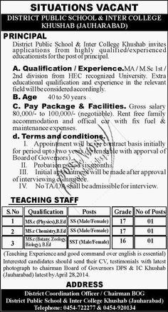 Principal & Teaching Jobs in District Public School & Inter College Khushab | Jobs N Jobs
