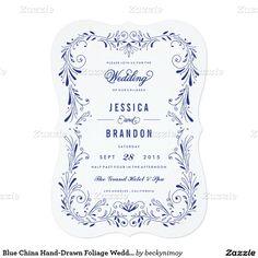 Blue China Hand-Drawn Foliage Wedding Invitation