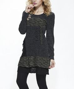 Loving this Charcoal Tiered Lace Layered Tunic on #zulily! #zulilyfinds