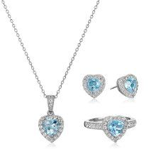 Sterling Silver Sky Blue Topaz and White Topaz Halo Heart Earrings, Ring, and Pendant Necklace Jewelry Set