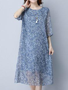Women Half Sleeve Printed O-Neck Summer Dresses