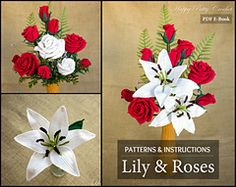 Ravelry: Lily & Roses Arrangement Pack - Make you own beautifully realistic bouquet and flower arrangement - incredible patterns. $14.3 @ Ravelry. #crochetpattern #flowerarrangement #rose #lily