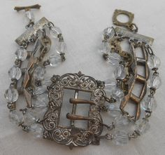 Antique Rosary Buckle Bracelet Repurposed Vintage