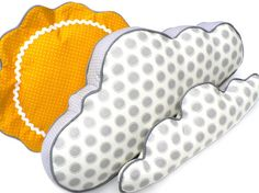 Cloud Pillows with Sun Pillow Grey Yellow White by CecilClyde, $75.00