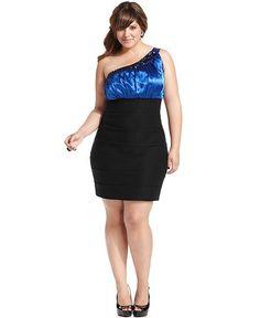 Trixxi Plus Size Dress, One-Shoulder Embellished - Plus Size Dresses - Plus Sizes - Macy's