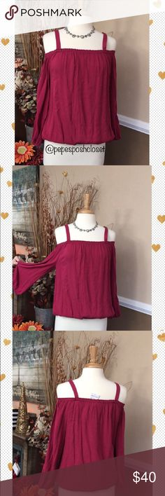 """🎀💕🎀NWT SANCTUARY TOP Sooo pretty!! Color is berry  Long sleeve, elastic around shoulders & wrist Measurements:: 25"""" from top of shoulder strap to bottom hem Approx 18"""" from underarm to underarm  Please bundle to save an instant 10% on 2 or more items Bundles of 1 will be ignored! Please use the buy now or offer tab As always thank you for shopping @pepesposhcloset 💕 Sanctuary Tops"""