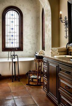 """Mediterranean Master Bathroom with SALTILLO 12"""" X 12"""" - ANTIQUE ADOBE FLOOR SEALED. Bathroom Design Ideas."""