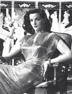 Jane Russell Macao 1952 wearing Joseff of Hollywood jewelry!  See beautiful pics like this in soon to be released Joseff of Hollywood book...  Pre-order Joseff of Hollywood: Putting the Tinsel in Tinseltown  By Michele Joseff www.joseffofhollywoodbook.com