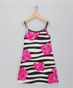Take a look at this Black Stripe Flower Dress - Toddler by Mignone on #zulily today!