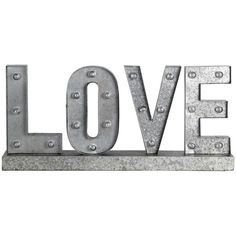 Privilege ''Love'' LED Marquee Metal Word Board Wall Decor (1 435 SEK) ❤ liked on Polyvore featuring home, home decor, filler, silver and metal home decor