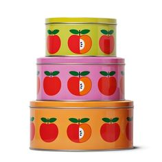 All over these apple tins by Danish home store Tiger £1 each!