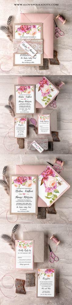 Boho Wedding Invitations Eco Papers & Lace #boho #weddingideas More