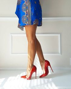 "Red High heels Louboutins (@stilettocouturebella) on Instagram: ""A bit of color play. #ootd #sokate #louboutinworld"" #christianlouboutinlipstick"
