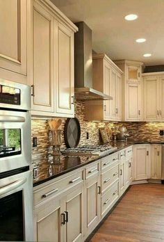 White Kitchen Cabinets with Dark Countertops. White Kitchen Cabinets with Dark Countertops. White Cabinets Dark Wood Floors Wood Countertop In Walnut Beautiful Kitchens, Dream Kitchen, Home Remodeling, New Kitchen, Kitchen Redo, Sweet Home, Home Kitchens, Kitchen Renovation, Kitchen Design