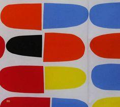 Latest Designer Fabric 'Pikku Jatski in Reds, Blues, Yellow and Black' by Marimekko (FIN). Designer Fabrics, curtains, blinds, cushions online