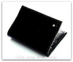 Porta-cartões em couro liso com diamante (smooth leather card holder with diamond)