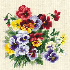 """Pansy Medley Counted Cross Stitch Kit-8""""X8"""" 14 Count #Crossstitchflowers"""