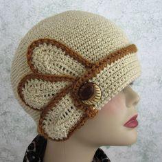 Womens Crocheted Flapper Hat Pattern With Petal and Button Trim No difficult stitches! Pattern uses sport weight yarn in 2 colors and an American size H hook  Skill level: For begining level or above- pattern includes detailed step by step instructions, and my help/support via email anytime you have questions.  Given in 2 sizes to fit all/most  You will need adobe acrobat reader- a free download on the internet   Etsy is now providing instant download for your digital pattern purcha...
