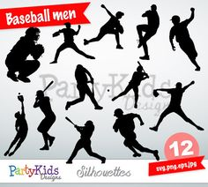 Baseball Silhouette instant download PNG JPG by PartyKidsDesigns