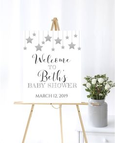 Twinkle Little Star Baby Shower Welcome Sign Silver Baby Shower Welcome Sign Silver Hanging Stars Baby Shower Welcome Sign Gender Neutral by MintedDelights on Etsy Baby Shower Bingo, Baby Shower Invitations For Boys, Baby Shower Printables, Hanging Stars, Baby Shower Welcome Sign, Thing 1, Star Baby Showers, Change Background, Little Star