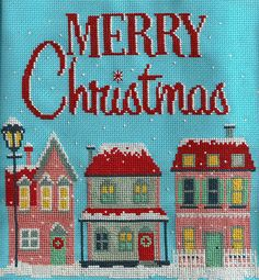 Merry Christmas cross-stitch//would definitely change out the pink thread.