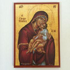 Our Lady Theotokos - Mother Of God - handmade orthodox byzantine icon Byzantine Icons, Baby Jesus, Mother Mary, Our Lady, Christian, Etsy Shop, Baseball Cards, Handmade, Ebay