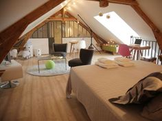 Pretty Guest Room at House Attic with Chic Design Ideas: Spacious Bedroom Loft Of Project BB Chez Ric Et Fer In Picardie Northern France Ais. House Design, Room, Loft Conversion, Suites, Bed And Breakfast, Bedroom Loft, Attic Bedroom Designs, Guest Room, Trendy Bedroom